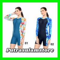 Baju Renang Diving Dewasa Cewek Motif Corak lengan Panjang - CORAK 04, XL