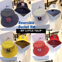 Bucket Hat Wanita Pria / Topi Bolak Balik Import / Topi MLB NY Yankees