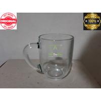 gelas kopi teh beling kaca polos bening gagang - cangkir mug kopi 6pcs