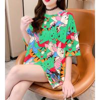 Pooh Piglet T Shirt Vintage Chic Printing Longgal Jumbo Pendek - Kuning