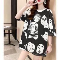 Kaos Hitam Hairy Face Monokrom T Shirt Import Oversized Panjang