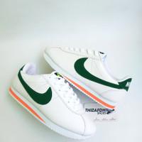 Sepatu Wanita Nike Cortez White Green Mirror High Quality - 36