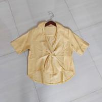 Baju Blouse Atasan Korea Linen Kuning Wanita Preloved