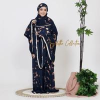 Mukena Dewasa Bali Jumbo Motif Tie Dye Rayon Premium - Biru Navy