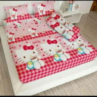 bed cover set Lady rose sprei Flat uk 160x200 Hello Kitty Capucino