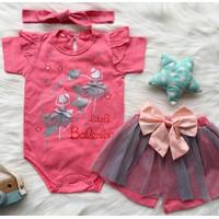 Baju setelan jumper rok bandana pergi seharihari anak bayi cewek murah