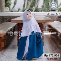 Gamis Azkia Set | Gamis Muslim Anak | Baju Muslim Anak | Busana Muslim - 2-3 tahun, Tosca Abu