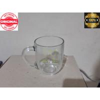 gelas cangkir gagang kopi teh gagang beling kaca polos bening 6 pcs