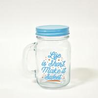Gelas drink jar kaca maison 500 ml tutup warna