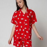 L baju tidur nevada babydoll nevada original sapi merah