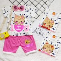 Setelan Baju Bayi Perempuan 6 12 bulan katun salur