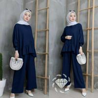 Baju Wanita Set Wendy Baju Setelan Blouse + Celana Muslim Wanita - navy