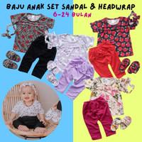 Baju Setelan Anak Bayi Perempuan Kaos Legging Sandal Bandana 6-24bulan