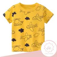 baju atasan anak / kaos anak laki-laki pesawat kuning uk 1-10 tahun