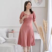 CLOUWNY - Enzo Puff Dress Premium Scuba Dress Bodycon dress wanita