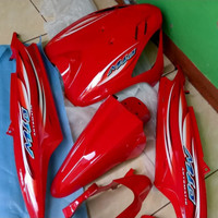 Cover Full Body Halus Mio Sporty 2005-2007 Merah Cabe + Striping