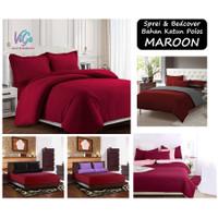 Vige Bedcover Set Size Single   Bad Cover Set Katun Polos Maroon