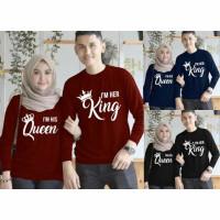 kaos couple king queen lengan panjang - baju pasangan