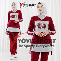 Baju Senam Wanita / Stelan Olahraga wanita Gym Lari/ Sablon Ori Yovis