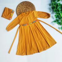 Baju Muslim Gamis Anak Perempuan Rempel Bunga Melati Warna Kuning Gold
