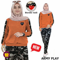 10664 10668 10672 Setelan Baju Olahraga Senam Training Wanita Newplay - loreng bata, XL