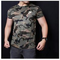 Baju Kaos Pria Army Loreng Hijau Training Sport Gym Fitness Nike