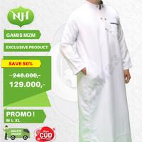 Baju Jubah Gamis Muslim Pria Warna Putih M L XL Lengan Panjang