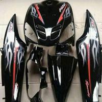 Cover Full Body - Bodi Halus Mio Sporty 2005-2007 Hitam + Striping