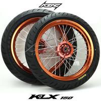 Ban Set Supermoto KLX Dtracker Tromol Ori Coating Orange Velg Scarlet