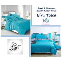 Vige Bedcover Set Katun Polos Biru Tosca Size Single   Bad Cover Set