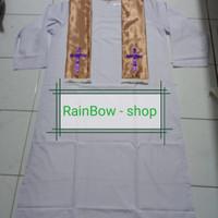 Jubah/Baju Baptis Pendeta Bhn Pth biasa + Slndng Gold size XXXL(Jumbo)