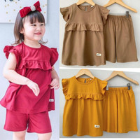 Setelan Anak Perempuan Dailywear Baju Main Cewek Polos Size 1-5 Tahun