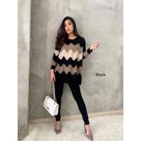 Meggy Jumbo Knit Top #526 Atasan Wanita Jumbo Baju Rajut - Hitam