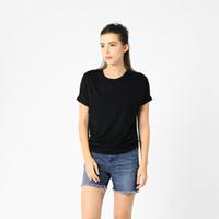 LEMONE 168PS Rayon Spandek Baju T-shirt Kaos Wanita Polos - Hitam