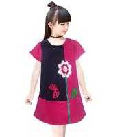 Two Mix Dress Anak Perempuan - Baju Anak Fashion Motif Bunga 4093 - Merah, 1