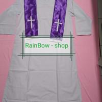 Baju/Jubah Baptis khusus Pendeta bahan Putih biasa Selendang Ungu