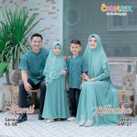 GM 27 Couple Baju Muslim Gamis Ibu Anak Cutetrik Humaira Green Jade