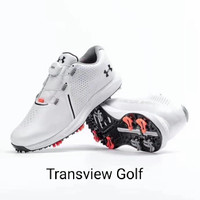 sepatu golf shoes Under Armour Men Charged BOA white spike red import