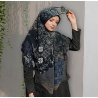 Terbaru Hijab Syar'i 130 x 130 Hijab Voal Segiempat Motif Cenn Hitam