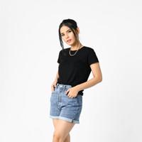 LEMONE 500PS Rayon Spandek Baju T-shirt Kaos Wanita Polos - Hitam