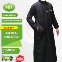 Baju Jubah Gamis Muslim Pria Warna Hitam M L XL Lengan Panjang