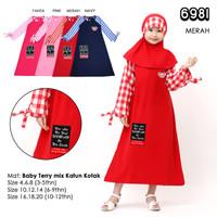 Baju GAMIS Anak Perempuan Tanggung / Pakaian Muslim Anak Cewek Murah J - Merah, Uk 4: 3-4 Thn