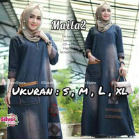 Gamis Jeans Maila Size S M L XL / Dress / Baju Muslim / Pakaian Wanita