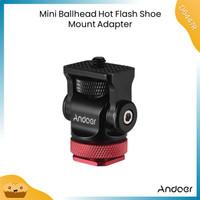 Andoer Mini Ball Head Ballhead Hot Flash Shoe Mount Adapter 1/4 Screw