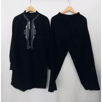 Setelan baju koko pakistan warna hitam / perlengkapan haji umroh