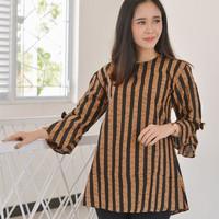 Blus Batik Wanita Baju Kerja Wanita Lurik Salur Murah Sogan BB026