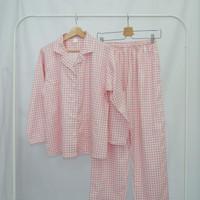 Piyama Wanita Lengan Celana Panjang Kotak Pink - Baju Tidur - XL