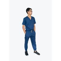 Baju Jaga / Baju Scrub / Baju OK Kerah V Celana Jogger Multipocket
