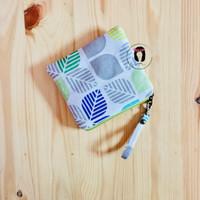 Spring Leaf Linen Canvas Mini Coin Purse Dompet Kartu Pouch Kanvas
