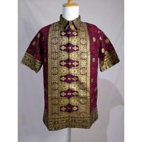 Baju Batik Songket Palembang Merah Bintang Berantai ( Bisa Couple ) - Pria